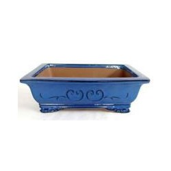 Maceta rectangular azul